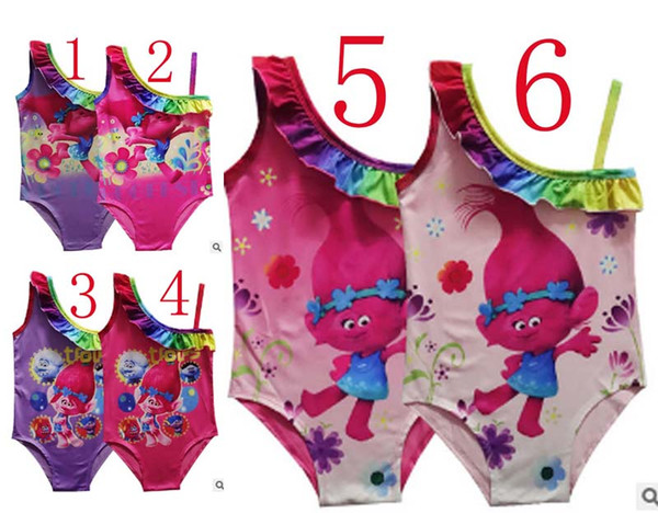 top popular 6 Style Girls Trolls 3~9years One-Pieces grenadine Lace Swimsuit 2017new models children cartoon trolls sling baby cartoon swimming suit 2020
