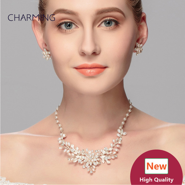 Pearl jewellery necklace and earrings 2 pcs Bridal jewelry sets Imitation jewellery charms style New fashion jewelry Wholesale sellers onlin