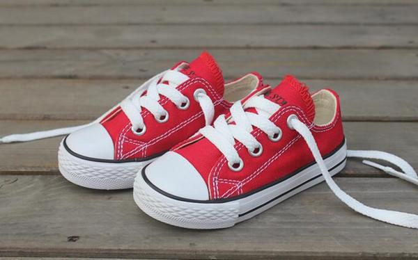 Tamaño 23-34 Cuadros verdaderos Niños bajos bajos Zapatillas de deporte de los niños Zapatos de las muchachas del niño Zapatos de lona del niño Zapatos ocasionales de los niños