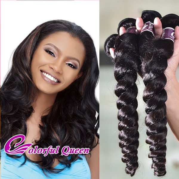 7A Grade Raw Indian Virgin Hair Loose Wave 3Pcs 300g Loose Curly Hair Weave Bundles Natural Black Indian Curly Hair Extensions 8-26 Inch