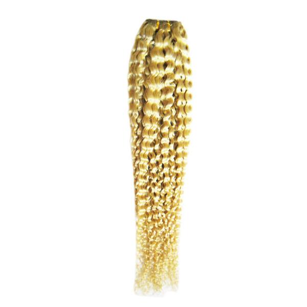 #613 Bleach Blonde human hair bundles 100g curly weave human hair 1pcs brazilian virgin kinky curly weave,no shedding, tangle free