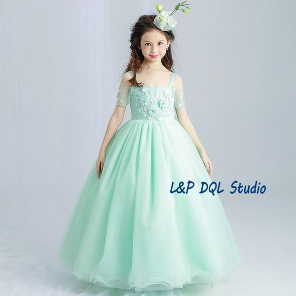 872d54a1a735e Robes de soirée fleurs vert clair robes de soirée filles blanches Scoop  sans manches fermeture à