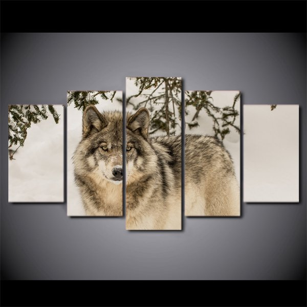 5 Pcs/Set Framed HD Printed Wolf Snow Field Modern Wall Pictures Home Wall Decor Poster Canvas Painting
