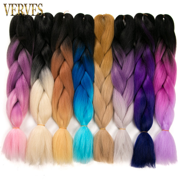 best selling VERVES Synthetic Two Tone High Temperature Fiber Ombre Braiding Hair braid 5 piece 24 inch Jumbo Braid Hair Extensions yaki braiding