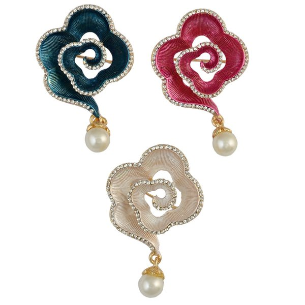 Three Colors Fashion Gold Plated Plant Enamel Pink White Blue Flower Shape Rhinestone Pearl Collar Pin Brooch
