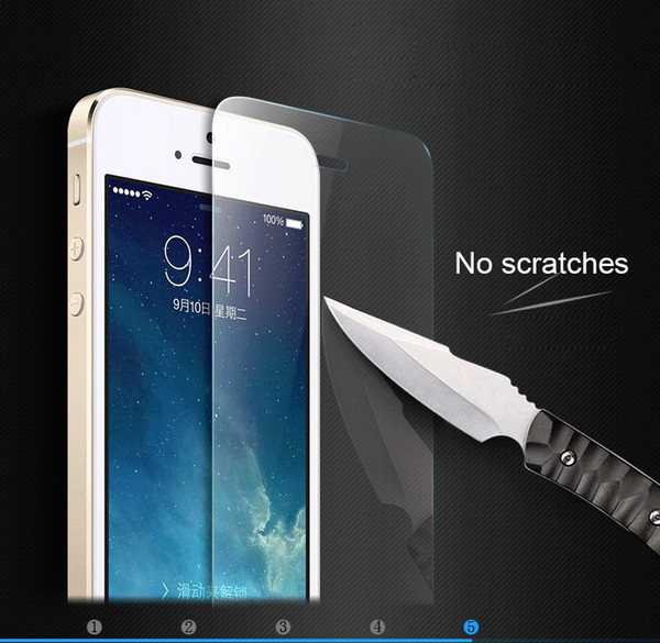 Tempered Glass Screen Protector for iPhone 5 5c 5s 2.5D Round Edge High Clear Anti-Scratch Tempered Glass Film with Retail Package
