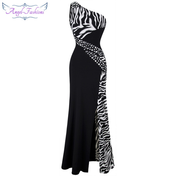 best selling Angel-fashion Women One Shoulder Zebra Beaded Gemstones Stitching Evening Dresses Prom Gowns Evening Dress Party Dress 072