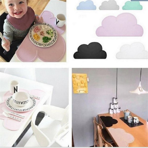 DHL Cloud Silicone Placemat Table Mat Baby Dining Mat Infant Children Anti Slip Pad Silicone Irregularly Shaped Heat Insulation Placemat