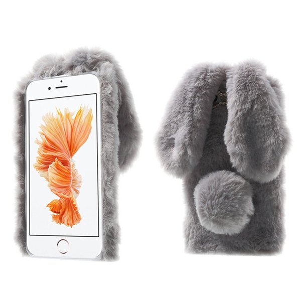 Luxury Lady Phone Case Winter Warm Rabbit Ear Hair Fluffy Fur Ball Diamond Back Plush Cover for Iphone 6 6s plus 7 7plus x XS XR XS Max