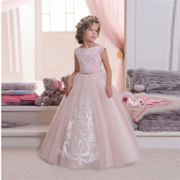 New Arrival Pretty Pink Tulle White Appliques Lace Ball Gown Flower Girls Dresses Kids Frock Designs Pageant Gowns