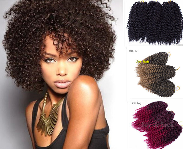 best selling free shipping 3 pcs set Marlybob0 8-10inch Synthetic braids crochet twist hair Ombre Black color braiding hair curly Crochet Hair Extensions
