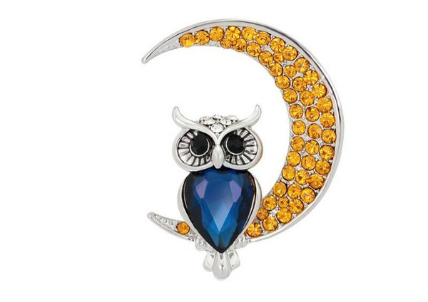 In Stock 12Pcs Shinny Crystal Owl Brooches MOON Brooches Party Red Flowers Pins brooches Jewelry 2017