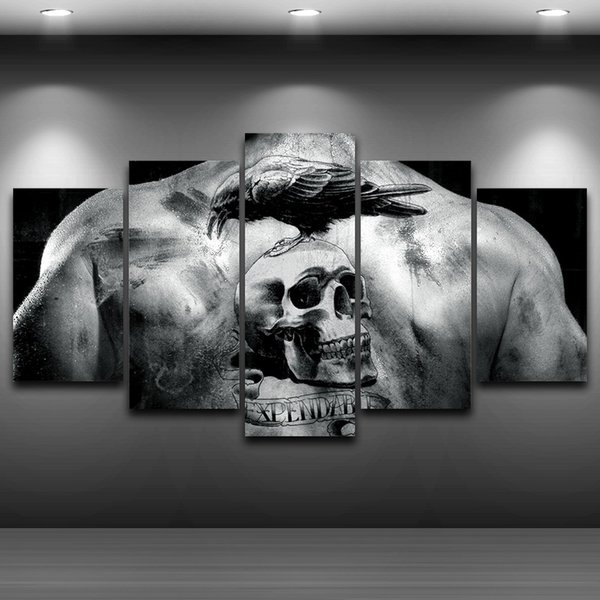 5 Pcs/Set Skull Tattoo Printed Home Decor Framed wall art picture Artistic Printed Drawing on Canvas Spray Oil Painting Decoration