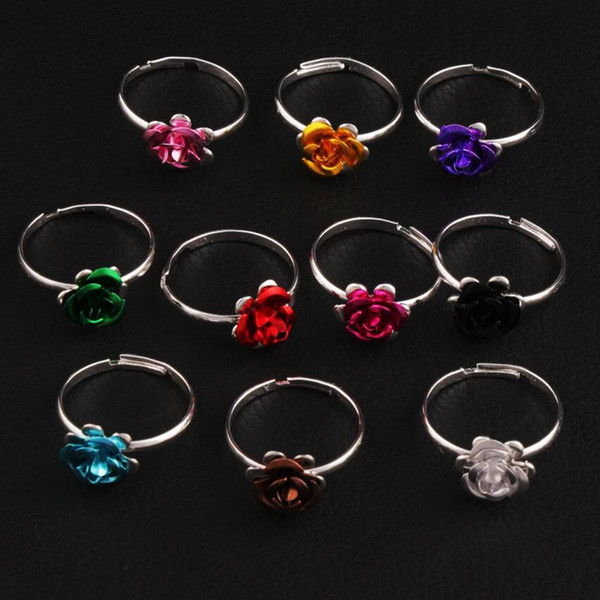 best selling Colorful Little Flower Ring Adjustable Size 100pcs lot Fresh Band Rings Jewelry DIY NEW R3088 98