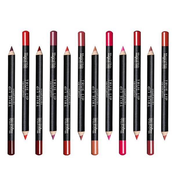 Wholesale- 12PCS Professional Lipliner pencil Waterproof wooden blend Lip Liner Pencil 12 Colors Per Set makeup lipstick tool M02696