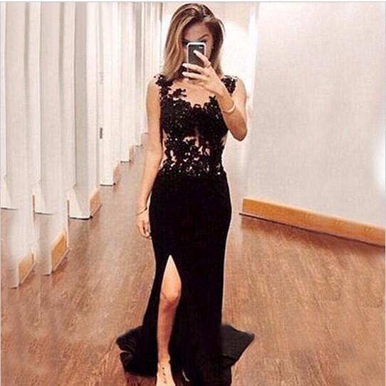Sexy Long Black Mermaid Prom Dresses 2017 Hot Sale Appliques Lace Evening Dress For Graduation Side Slit Party Gown