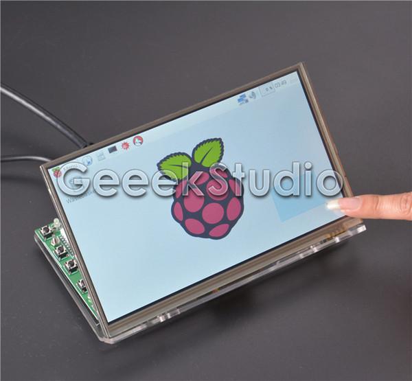 Freeshipping Raspberry Pi 7 inch LCD Display 1024*600 TFT Touch Screen Monitor with Drive Board HDMI VGA 2AV & Transparent Acrylic Bracket