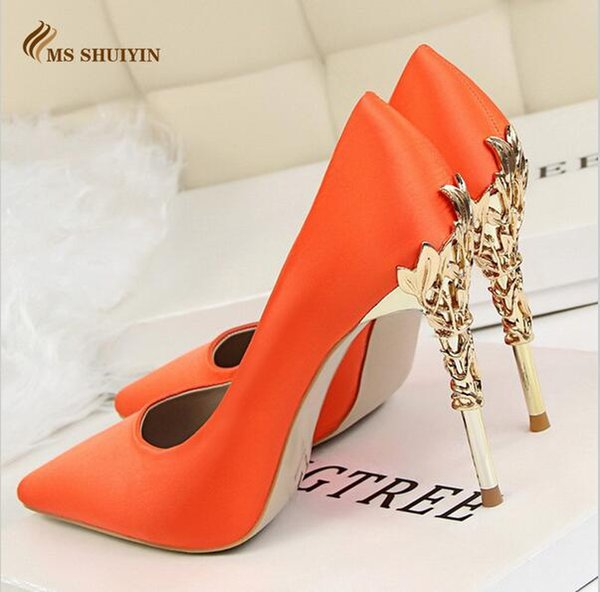 Sell like hot cakes 13colors Women pumps Sexy Pointed toe Faux Metal high heels shoes woman Spring Summer Women wedding shoes High heels Zap