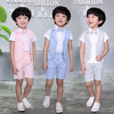 451b37c519cd Ropa para niños 2017 verano de gama alta vestido de niños bebé tres trajes  traje de
