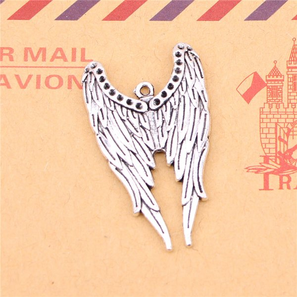 36pcs Tibetan Silver Plated angel wings Charms Pendants for Jewelry Making DIY Handmade Craft 39*24mm