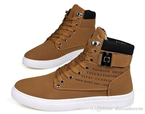 Pop Nice Men Casual Ankle Boots For Men Canvas Sport Buckle Rivet Sneakers Shoelace Anti-slip Shoes Size 28-55