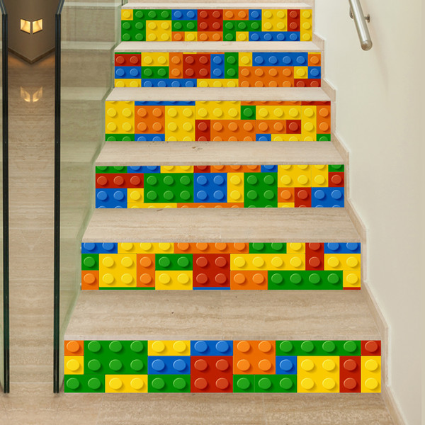 Creative DIY 3D Stairway Stickers Lego Blocks Pattern For Room Stairs  Decoration Home Decor Floor Wall Sticke Removable Vinyl Wall Decals  Removable