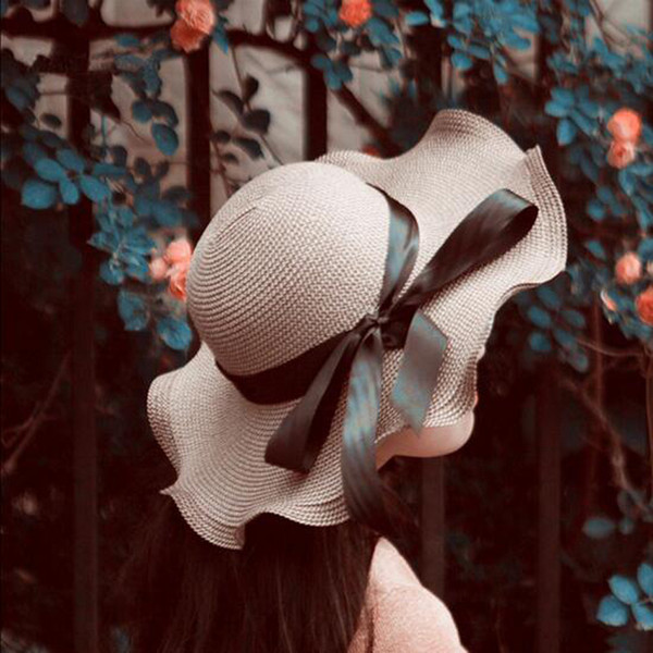 Women Bhaki Beach Hat Large Floppy Foldable Straw Hat Boho Wide Brim Beach Sun Cap with Bow Tie Summer Holiday Free Shipping