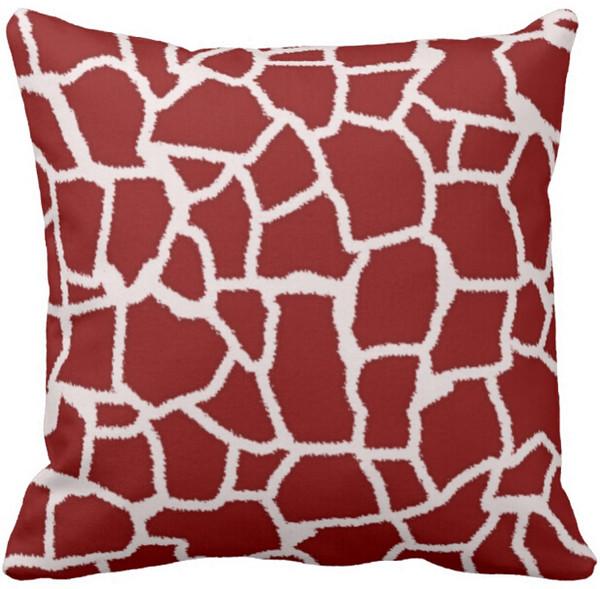 Jogar Travesseiro Caso Vermelho Escuro Girafa Animal Imprimir Quadrado Sofá Almofadas Capa,