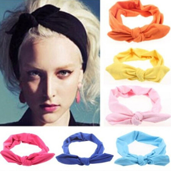 2017 New Girls Women Fashion Elastic Stretch Plain Rabbit Bow Style Hair Band Headband Turban HairBand hair accessories 20pcs/lot