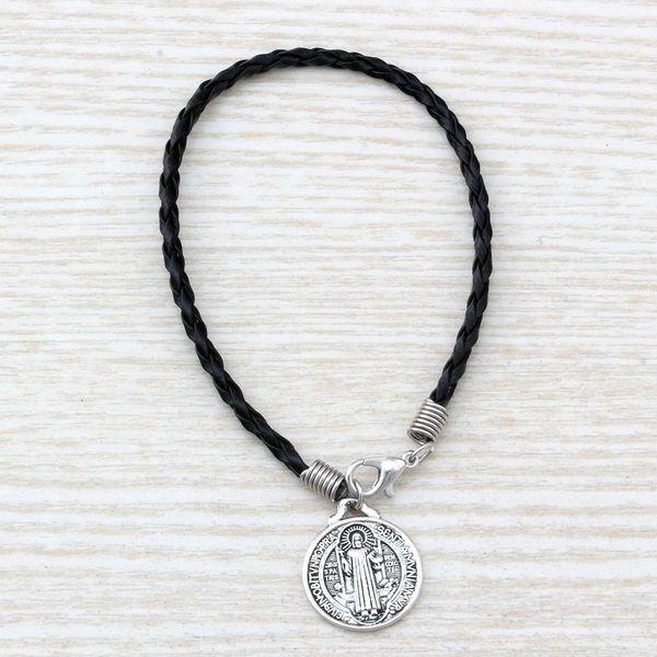 MIC 20pcs black leather bracelet Antique silver alloy Saint Benedict Medal Charms Bracelet B-58
