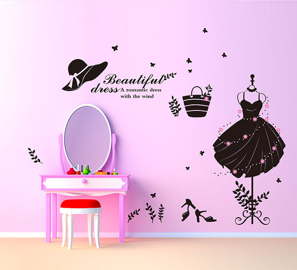 Beautiful Dress Wall Sticker DIY Evening Dress Wall Art Decal for Valentine's day for Bedroom Girls Room and Shop Window Decoration