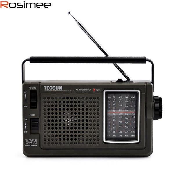 Wholesale-Brand New TECSUN R-304 R304 FM/MW/SW Radio Digital Receiver Digital Demodulation Stereo Radio Portable Radio High Sensitivity