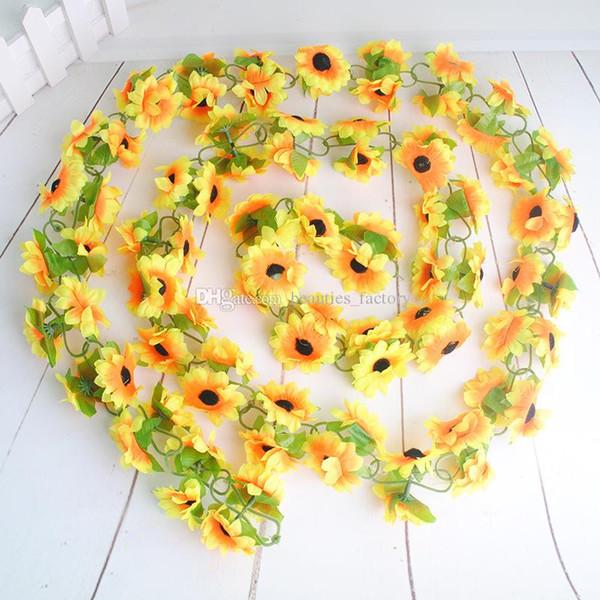 Artificial Sunflower Hanging Vine Fake Silk Foliage Flower Leaf Garland Plant Home Decoration ( 2.3M length)