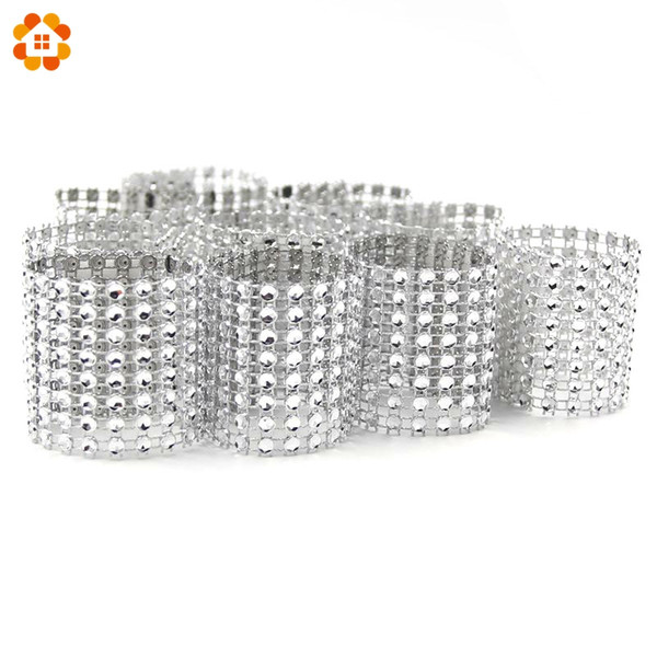 Wholesale- Hot Sale 20PCS/Lot Silver 8 Rows Bow Covers With Closure Napkin Ring Diamond For Wedding Party Chair Sashes Decoration Crafts