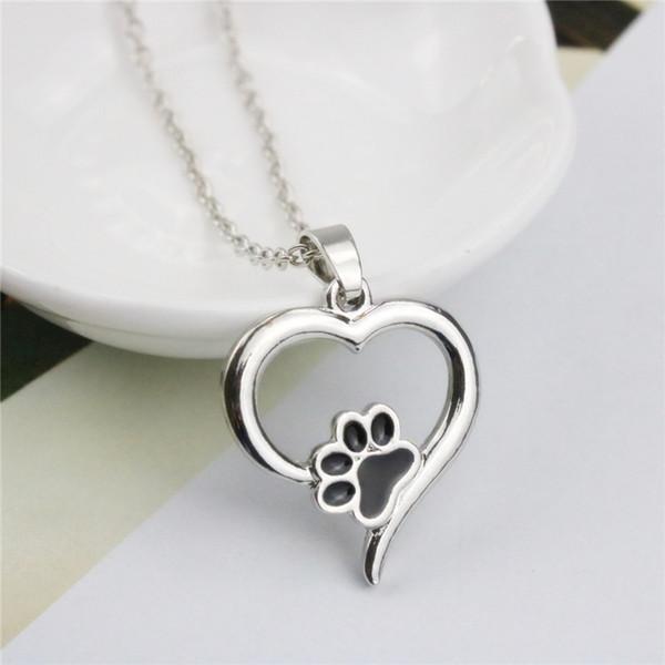 2019 Recém-28 Design Mistura da pata do cão Mulheres bonito do coração pingente colar colares de prata banhado a ouro para meninas partido do presente colares curtos
