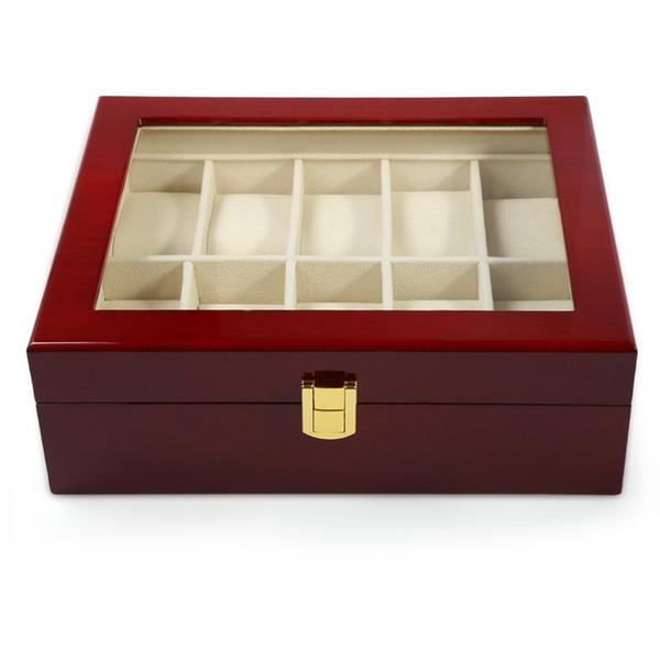 2016 Hot Sale 10 Grids Red Wooden Watch Case Glass Cover Elegant Watch Box Jewerly Storage Organizer caixa para relogio