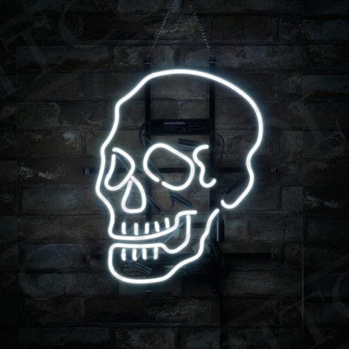 "17""x14"" Skull Shape Sport Bistro Neon Light Sign Store Bar Pub Room Wall Party Club Decor Lamp"