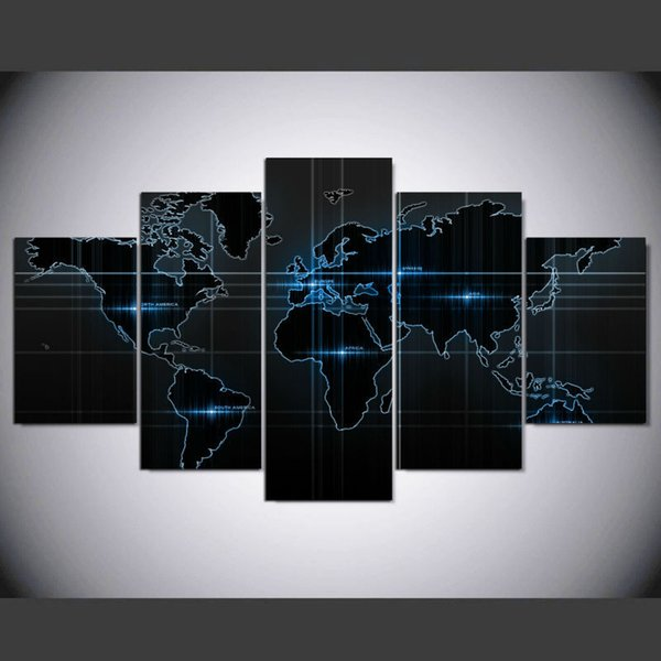 New Modern Abstract Art World Map Canvas Painting 5 Panel Unframed Wall art Print Modular Picture For Living room Artwork home decor