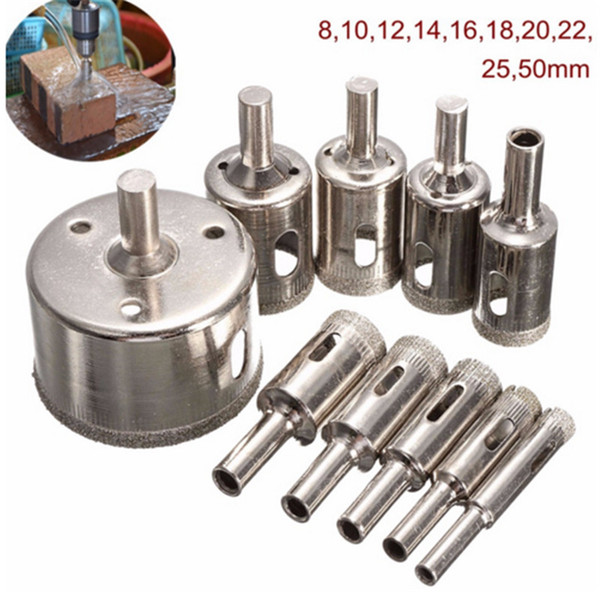 New Arrival 10PCS/set 8-50mm Diamond Coated Core Hole Saw Drill Bits Hand Tool Cutter For Tiles Marble Glass Granite