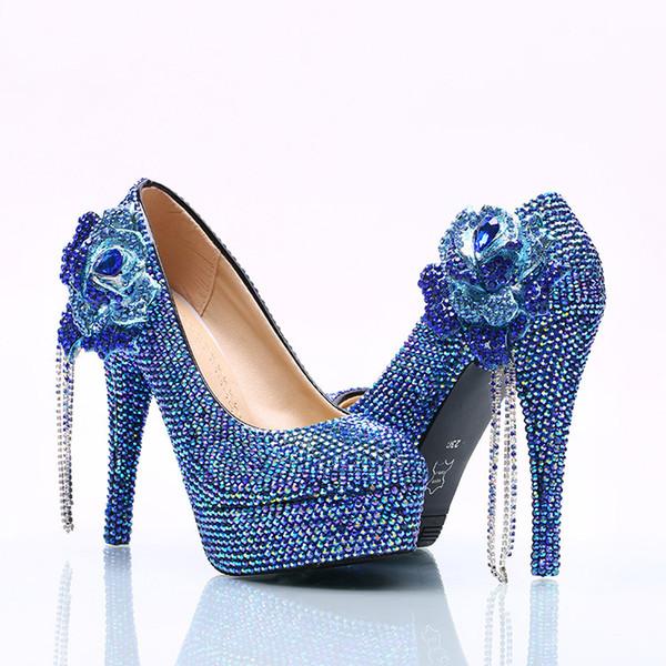 Wholesale Royal BLue Chain Flower Cinderella Shoes Prom Evening High Heels Beading Rhinestones Bridal Bridesmaid Hand-made Wedding Shoes