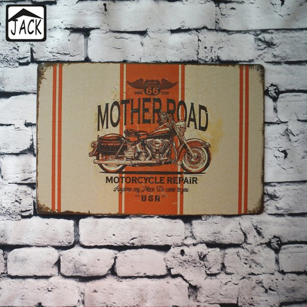MOTHERROAD Motocycle Repair Metal Tin Sign Vintage Plaque Decor Plate Garage Barn Gallery Poster Coffee Club Bar Pub Wall Decor