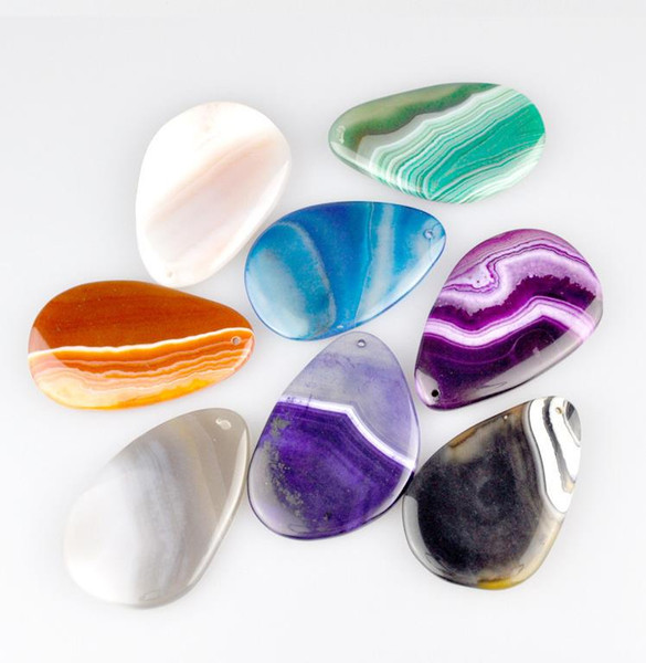 Pierres précieuses naturelles Pierres Précieuses Mix Stripe Agate Perles Pendentif Tear Drop Agate Charms Pour Bijoux Collier Making