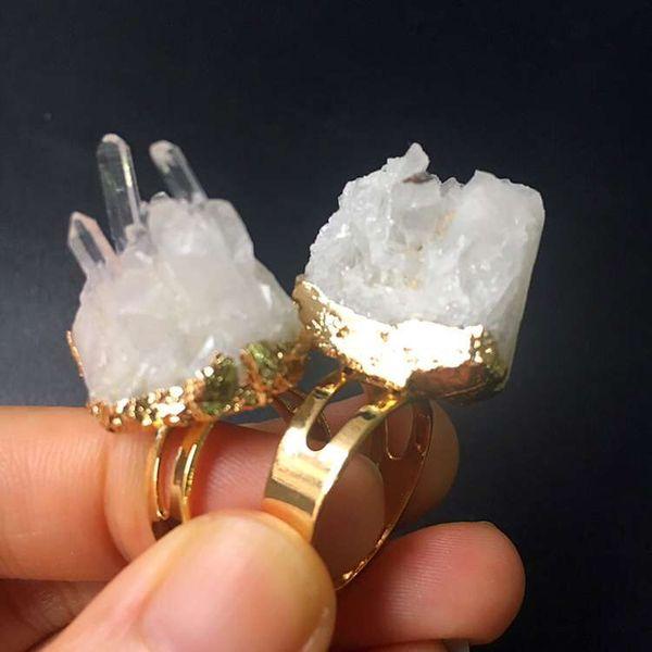 Gold Crystal Druzy Ring