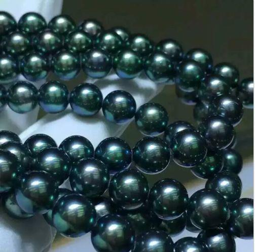 35 INCH HUGE NATURAL SOUTH SEA 9-10MM BLACK GREEN PEARL NECKLACE 14K GOLD CLASP