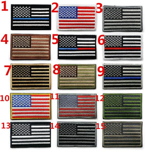 top popular American Flag Patches Military Uniform Gold Border USA Can Ironing Applique Jeans Fabric Sticker Patches for Hat Decoration M021 2019