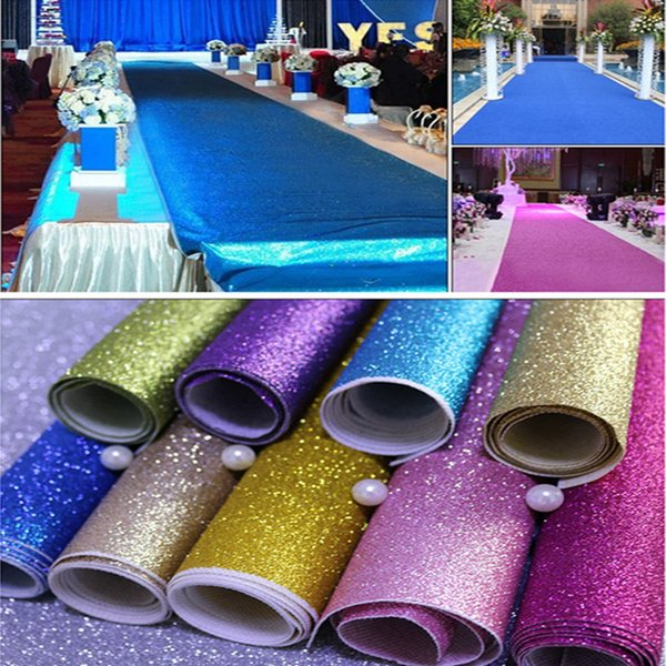 1 m Wide X 10 M Upscale Pearlescent Wedding Carpet Shiny Aisle Runner T station Carpet For Party Decoration Supplies Many Colors