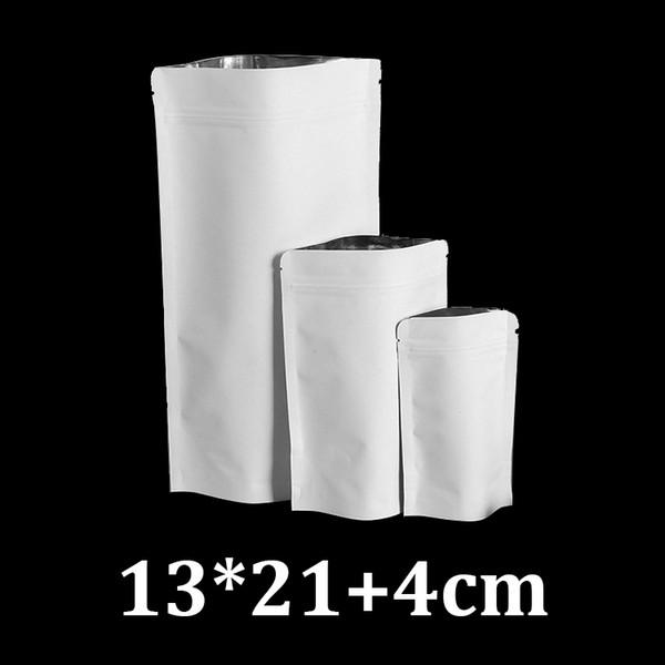 13x21cm resealable ziplock standing up food grade white kraft paper coffee tea package bag