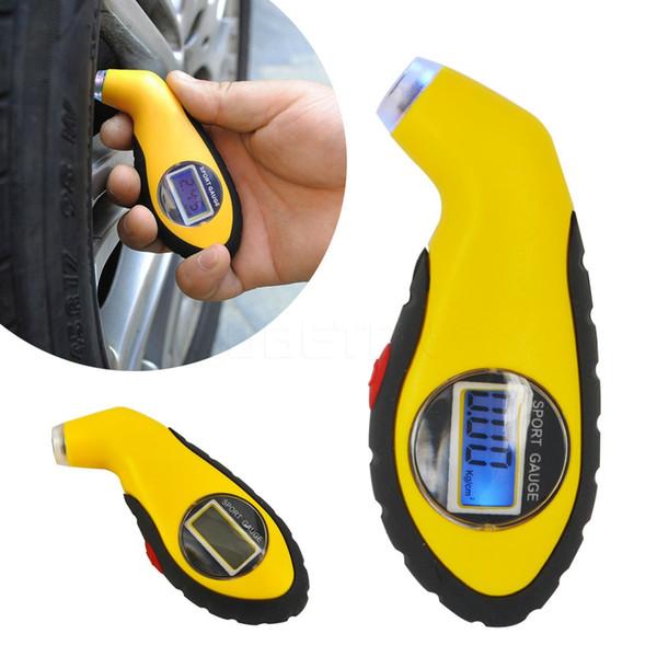Vendita calda Digital LCD Car Tire Pneumatico Air Pressure Gauge Meter Manometro elettronico Barometri Tester Tool per Auto Car Motorcycle