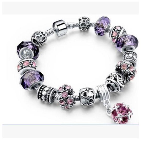 Fashion 925 Sterling Silver Murano Lampwork Glass Purple Crystal European Charm Stopper Beads Safety ChainFits Pandora Charm Bracelets