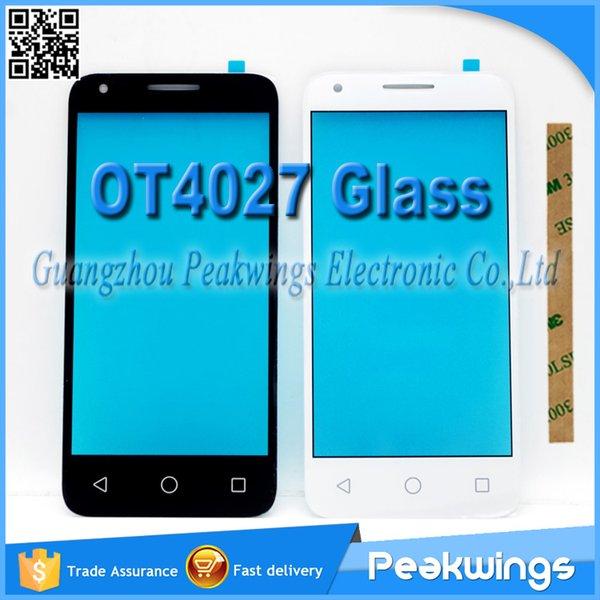 """Wholesale- 4.5""""inch Front Glass For Alcatel One Touch Pixi 3 4027D 4027X 4027A OT4027 Glass No Touch Sensor with 3M Sticker+Track"""